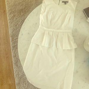 BCBG white peplum dress